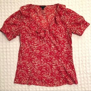 Banana Republic Red Floral Blouse Work or Party S